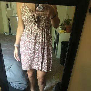 Tie-front button up floral dress